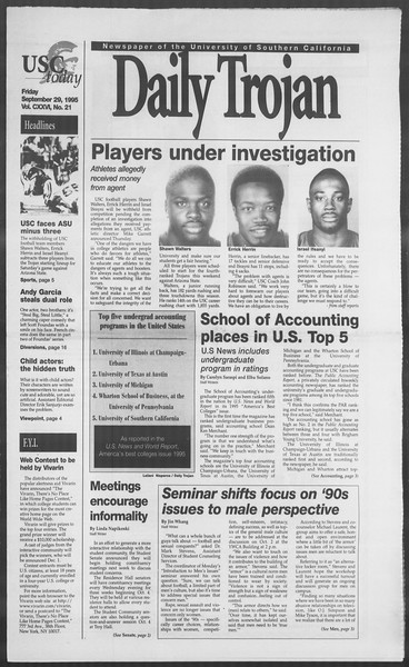 Daily Trojan, Vol. 126, No. 21, September 29, 1995