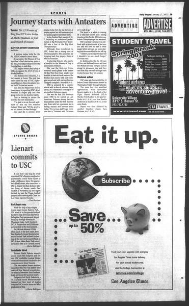 Daily Trojan, Vol. 142, No. 5, January 17, 2001