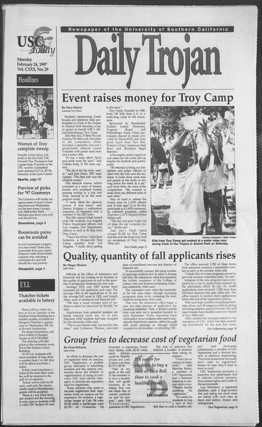 Daily Trojan, Vol. 130, No. 29, February 24, 1997