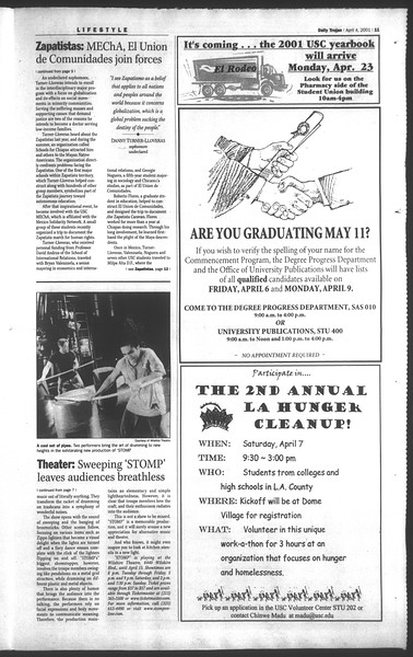 Daily Trojan, Vol. 142, No. 51, April 04, 2001