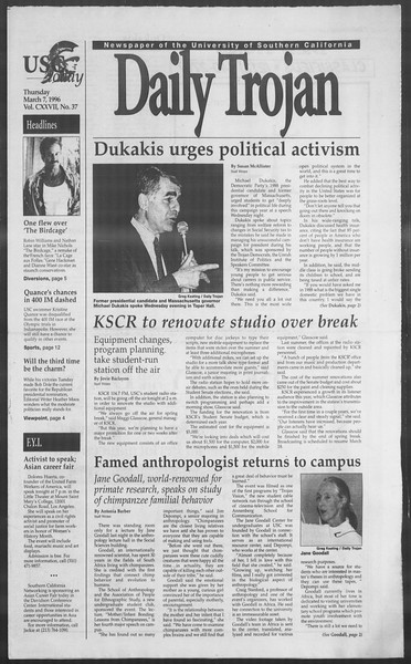 Daily Trojan, Vol. 127, No. 37, March 07, 1996
