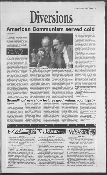Daily Trojan, Vol. 126, No. 26, October 06, 1995