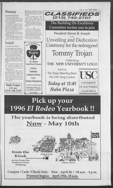 Daily Trojan, Vol. 127, No. 66, April 25, 1996