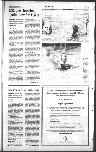 Daily Trojan, Vol. 142, No. 48, March 30, 2001