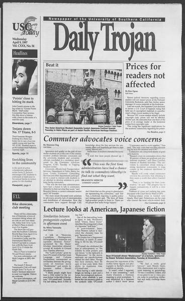 Daily Trojan, Vol. 130, No. 54, April 09, 1997
