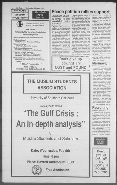 Daily Trojan, Vol. 114, No. 19, February 06, 1991