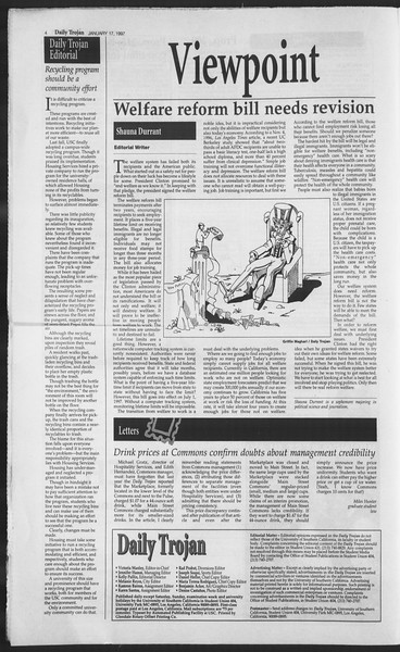 Daily Trojan, Vol. 130, No. 7, January 17, 1997