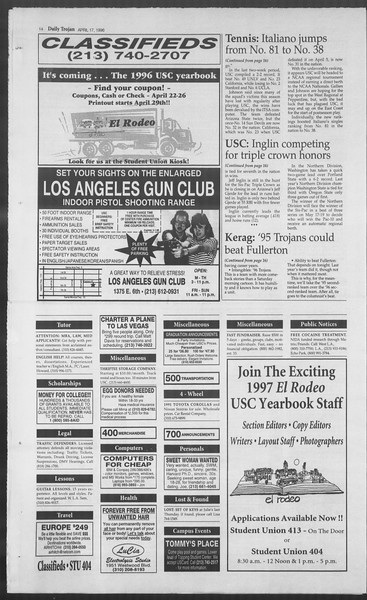 Daily Trojan, Vol. 127, No. 60, April 17, 1996