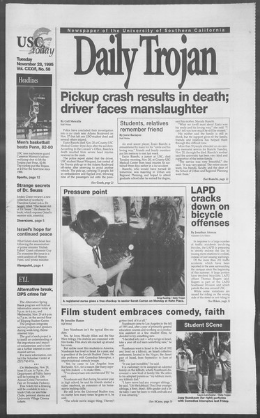 Daily Trojan, Vol. 126, No. 58, November 28, 1995