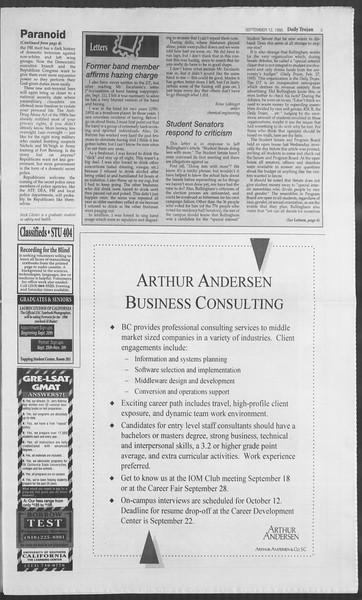 Daily Trojan, Vol. 126, No. 8, September 12, 1995