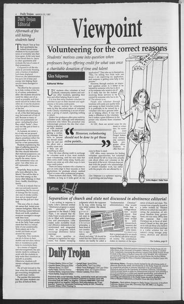 Daily Trojan, Vol. 130, No. 40, March 20, 1997