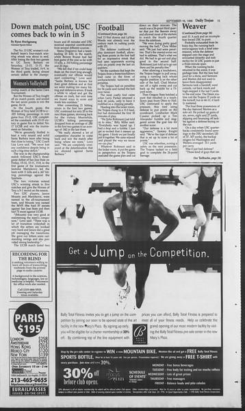 Daily Trojan, Vol. 129, No. 12, September 16, 1996