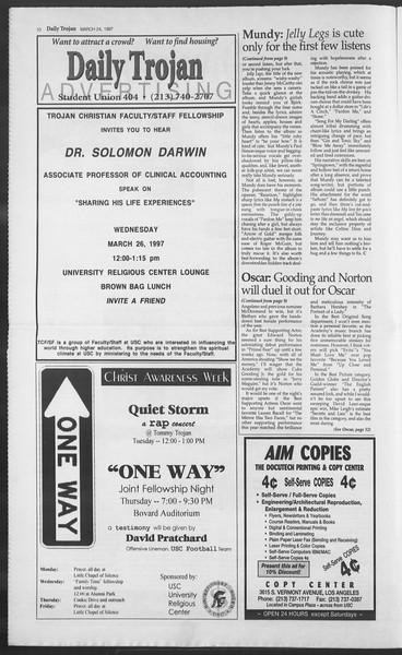 Daily Trojan, Vol. 130, No. 42, March 24, 1997