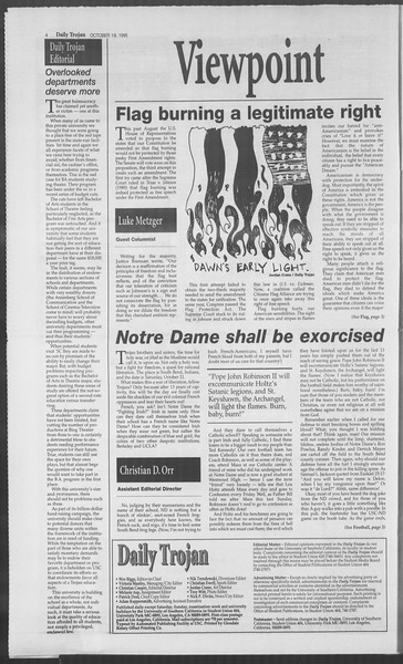 Daily Trojan, Vol. 126, No. 34, October 19, 1995