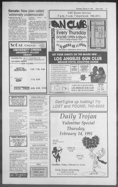 Daily Trojan, Vol. 114, No. 15, January 31, 1991