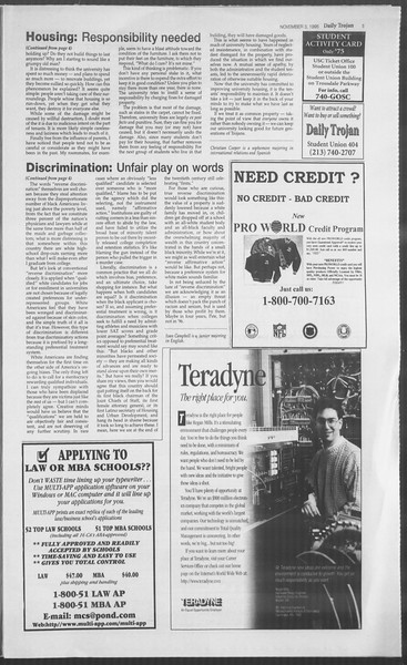 Daily Trojan, Vol. 126, No. 45, November 03, 1995