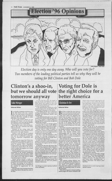 Daily Trojan, Vol. 129, No. 47, November 04, 1996