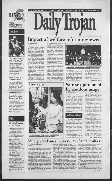 Daily Trojan, Vol. 130, No. 25, February 14, 1997