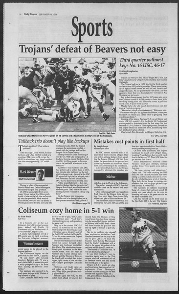 Daily Trojan, Vol. 129, No. 12, September 16, 1996
