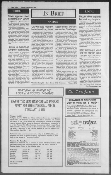 Daily Trojan, Vol. 114, No. 13, January 29, 1991
