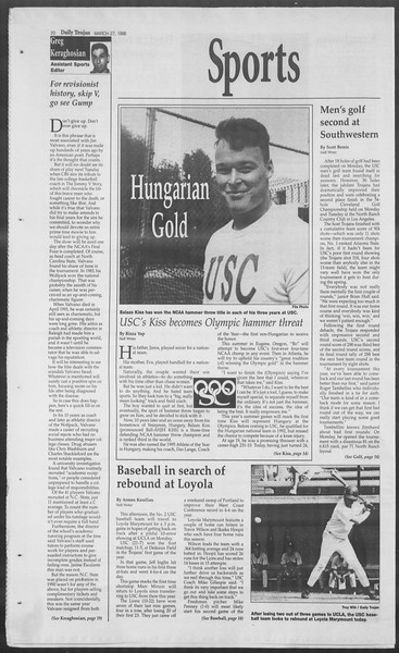 Daily Trojan, Vol. 127, No. 45, March 27, 1996