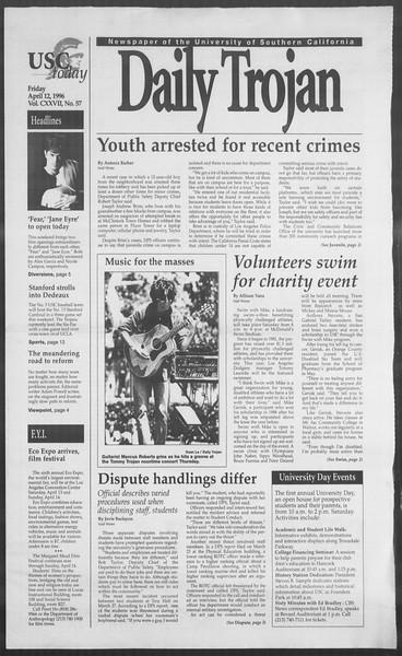 Daily Trojan, Vol. 127, No. 57, April 12, 1996