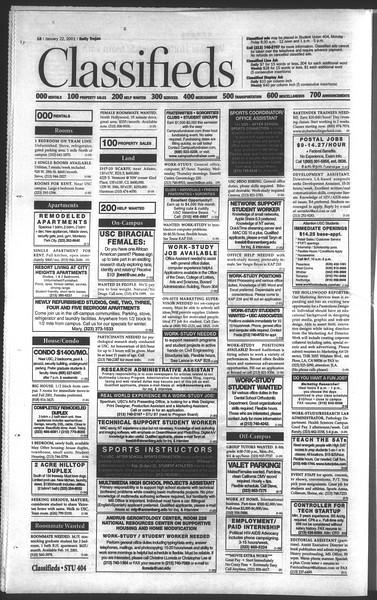 Daily Trojan, Vol. 142, No. 8, January 22, 2001