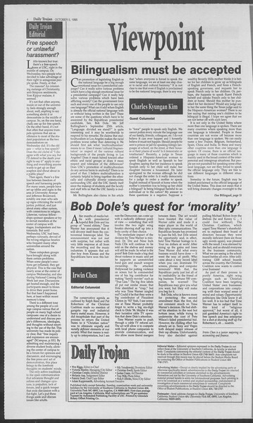 Daily Trojan, Vol. 126, No. 25, October 05, 1995