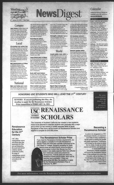 Daily Trojan, Vol. 142, No. 9, January 23, 2001