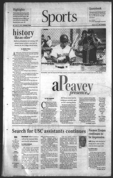 Daily Trojan, Vol. 143, No. 6, June 27, 2001