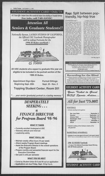 Daily Trojan, Vol. 126, No. 9, September 13, 1995