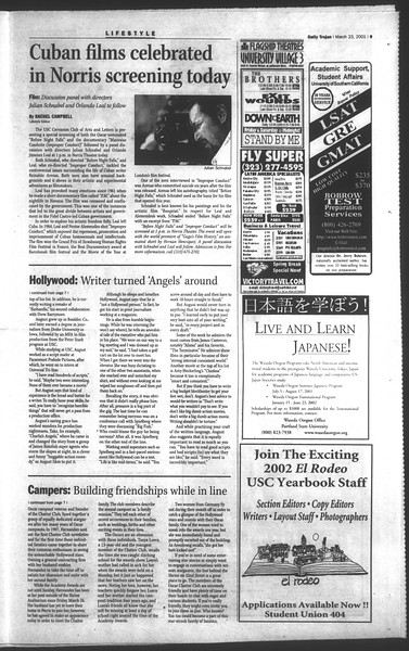 Daily Trojan, Vol. 142, No. 43, March 23, 2001