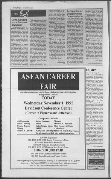 Daily Trojan, Vol. 126, No. 43, November 01, 1995