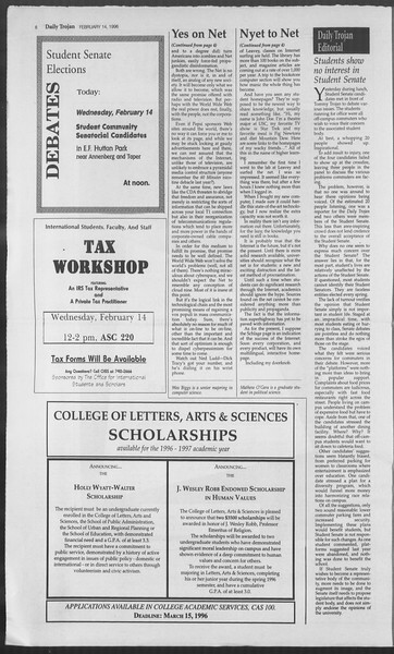 Daily Trojan, Vol. 127, No. 23, February 14, 1996