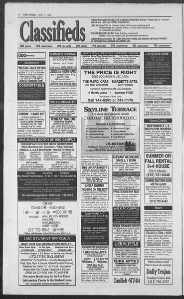 Daily Trojan, Vol. 127, No. 60, April 17, 1996