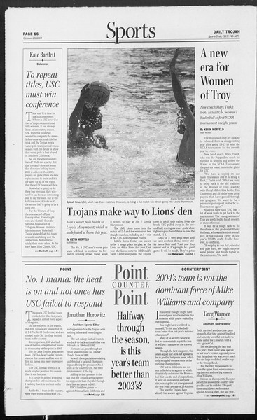 Daily Trojan, Vol. 153, No. 40, October 20, 2004
