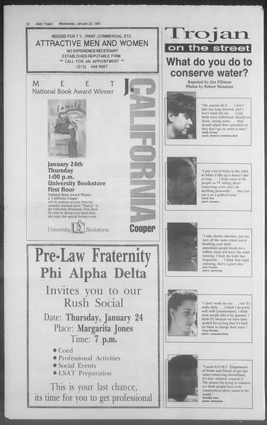 Daily Trojan, Vol. 114, No. 9, January 23, 1991