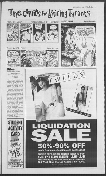 Daily Trojan, Vol. 126, No. 10, September 14, 1995