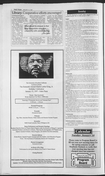 Daily Trojan, Vol. 130, No. 4, January 14, 1997