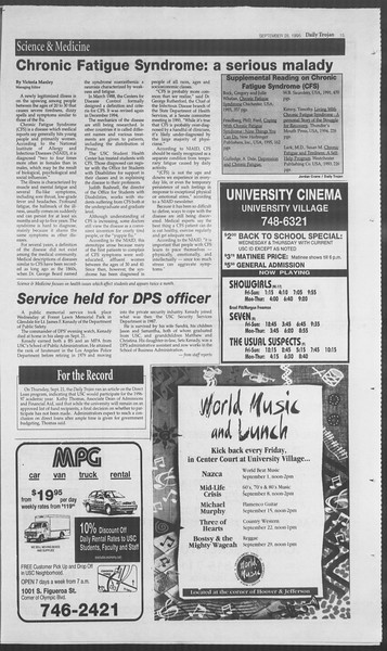 Daily Trojan, Vol. 126, No. 20, September 28, 1995