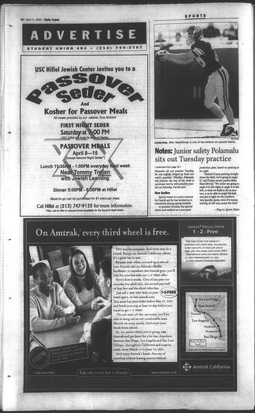 Daily Trojan, Vol. 142, No. 51, April 04, 2001
