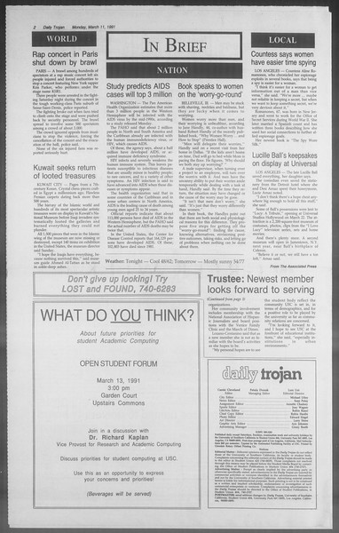 Daily Trojan, Vol. 114, No. 40, March 11, 1991