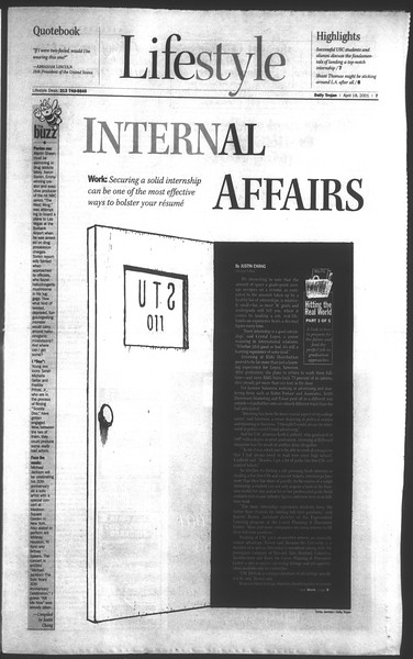 Daily Trojan, Vol. 142, No. 61, April 18, 2001