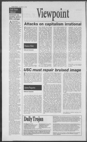 Daily Trojan, Vol. 126, No. 30, October 13, 1995
