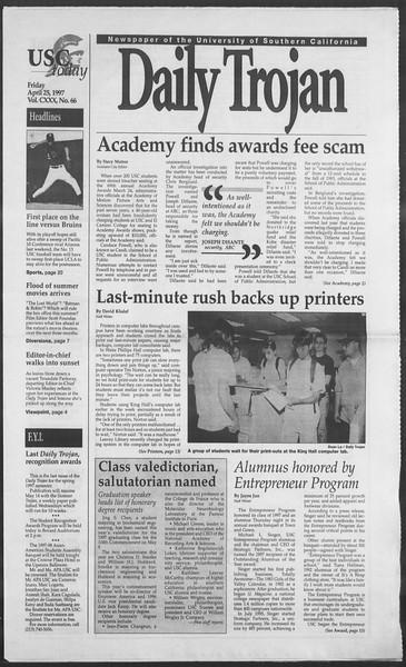 Daily Trojan, Vol. 130, No. 66, April 25, 1997