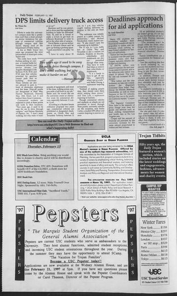 Daily Trojan, Vol. 130, No. 24, February 13, 1997