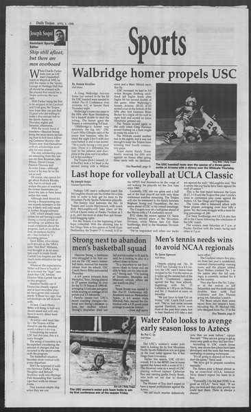 Daily Trojan, Vol. 127, No. 52, April 05, 1996