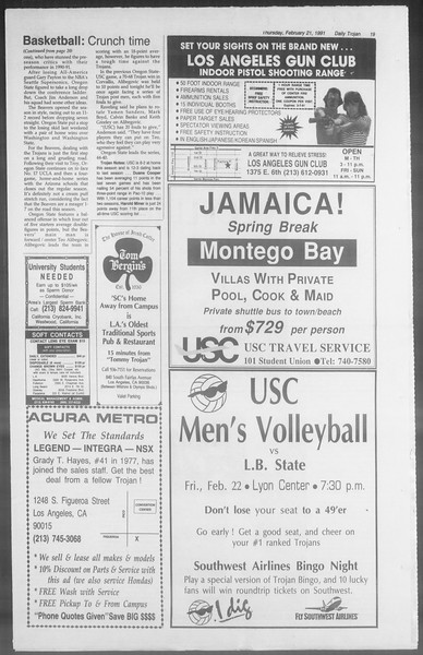 Daily Trojan, Vol. 114, No. 28, February 21, 1991