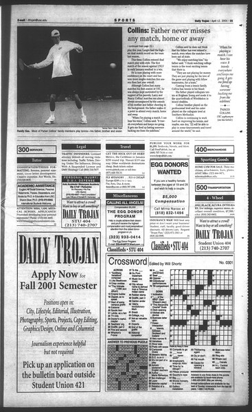 Daily Trojan, Vol. 142, No. 57, April 12, 2001