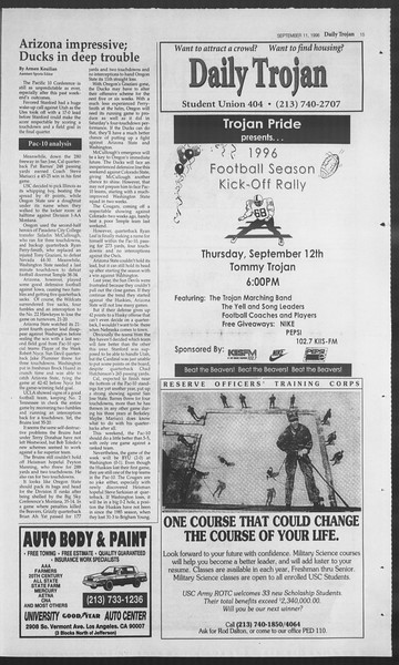Daily Trojan, Vol. 129, No. 9, September 11, 1996